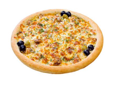 Tasty Italian pizza  on plate.Italian kitchen. Isolated on white background.  Stock fotó