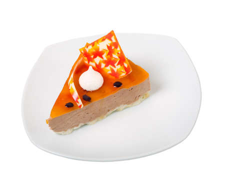 sweetness: delicious cake .Isolated on white background. Stock Photo