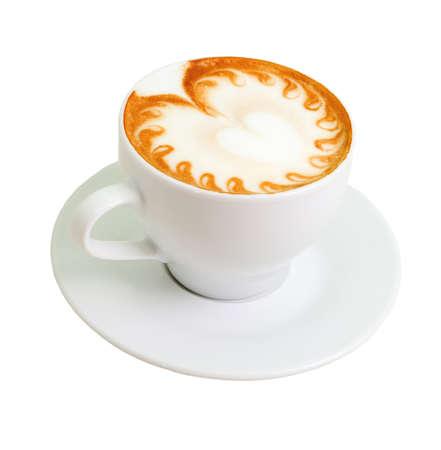capuchino: cappuccino.Cup de caf� sobre un fondo blanco Foto de archivo