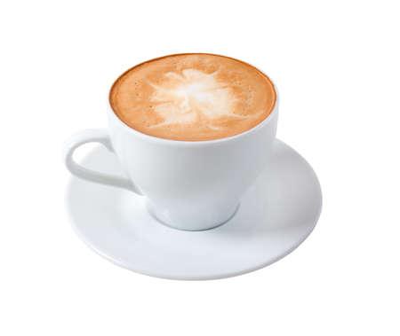 capuchino: capuchino cup.coffee sobre un fondo blanco