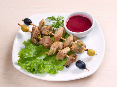 kebab with fresh vegetables  with cowberry by sauce  photo