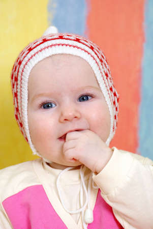 small caucasian girl infant is dared. lucky childhood Stock Photo - 4578701