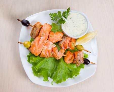 shish kebab: Shish Kebab from  Salmon  with Vegetables.fish roast.close-up
