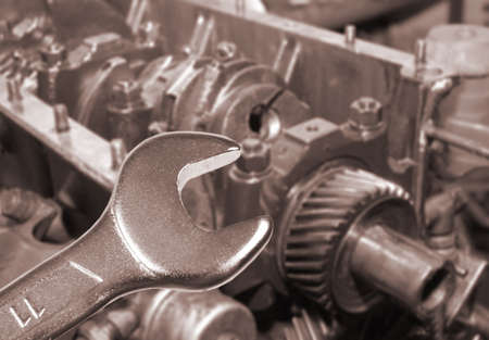car engine and spanner. Focus on spanner.Working on a Car Stock Photo - 4641701