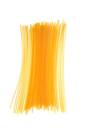 uncooked spaghetti noodles isolated on a white background. photo