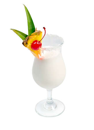Pina Colada cocktail  isolated on white background. Stock Photo - 4848107