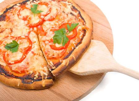 tomato pizza with pepper.Pizza and italian kitchen. Studio Stock Photo - 4859101