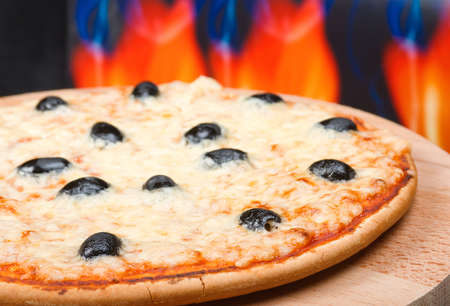 fervour: Pizza  with fire on background