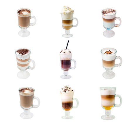 cappuchino: collection glass cap with coffee
