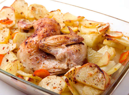 Potato with a hen on grill .Whole Roast chicken Stock Photo - 5608412