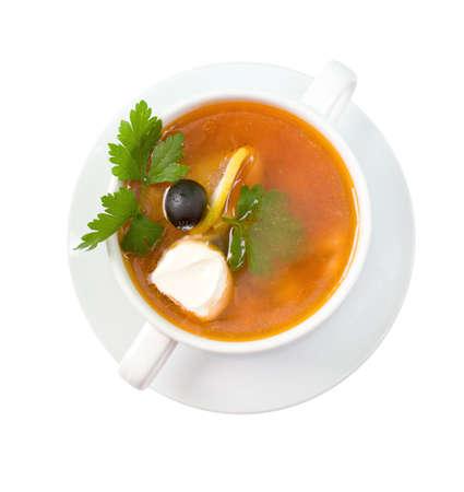 dicke Suppe mit Gem�se und Fleisch - solanka  Stockfoto - 5901794