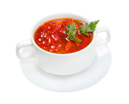Ukrainian and russian national red soup-borsch. closeup photo