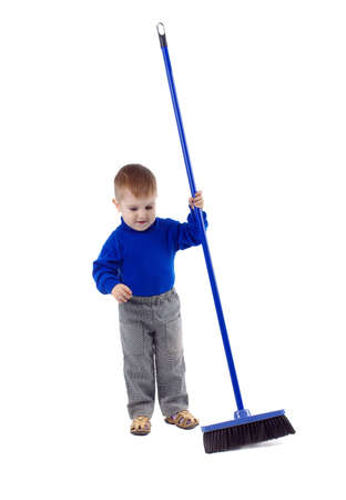 scavenging: Joyful boy with cleaning swab on a white background