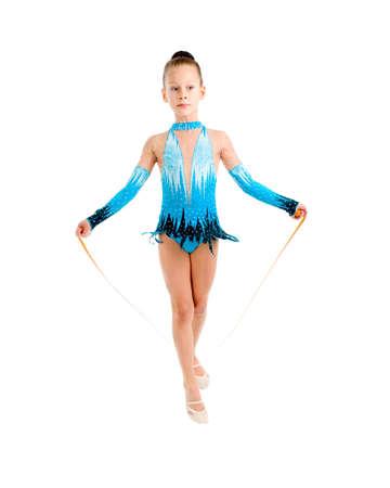 young girl doing gymnastics over white  Stock Photo - 6133498