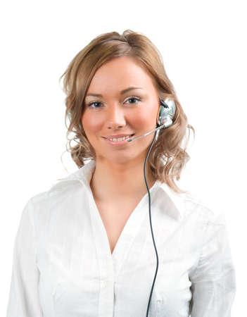 girl operator .Isolated on white background photo