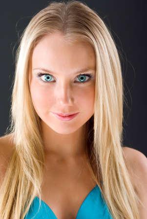 beauty close-up portrait young woman.Fashion portrait of a beautiful blonde girl  photo