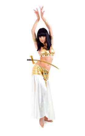bailarinas arabes: Bellydance mujer en amarillo Egipto de estilo. Aislados en backgroun blanco Foto de archivo