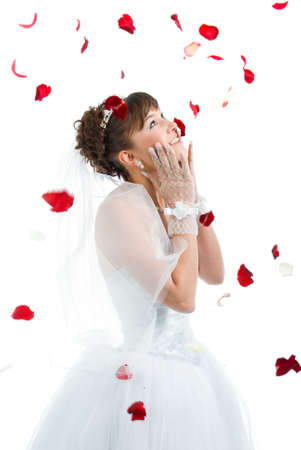 Beautiful sexy bride on  floor among red rose petals on white background  Stock Photo
