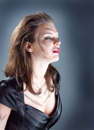 cat woman .girll in cat make-up and bodyart Stock Photo - 6443552