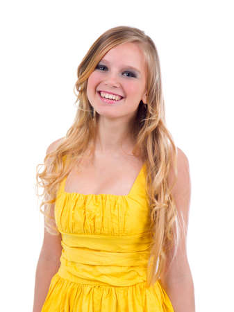Doll-like model posing as stupid blonde on a white background  Stock Photo - 6471105