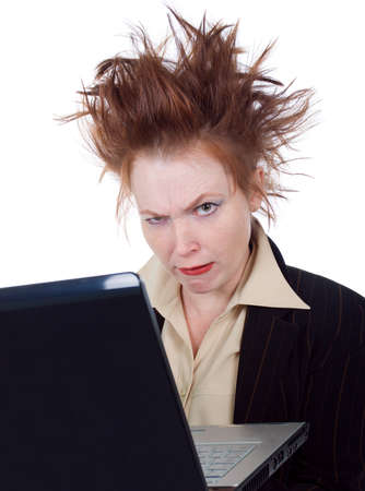 furious: Angry crazy Business woman with a laptop - isolated on white