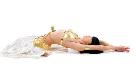 tummy: egypt dancer with a sword solated on a white background