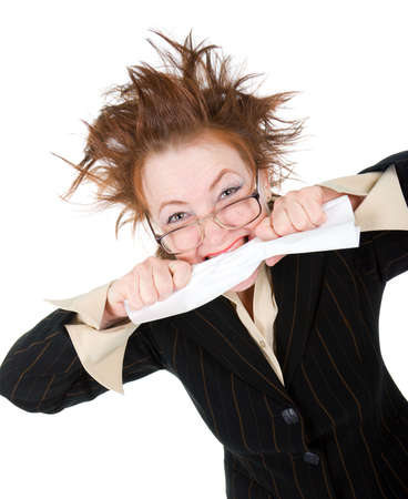crazy businesswoman breaks contract .isolated on white  photo