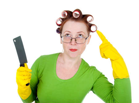 maniac: Angry crazy  housewife with  knife. white background