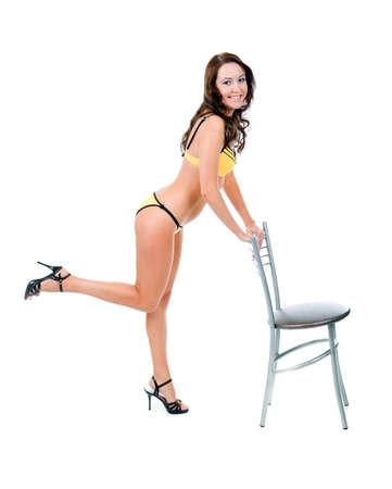 Young beautiful woman in bikini isolated on white background  Stock Photo - 6668611