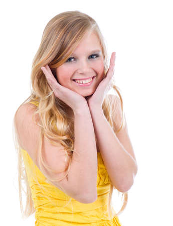girl doll: happy teenage girl isolated on a white background .beautiful blonde girl
