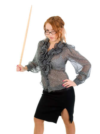 sexy red hair teacher holding pointer isolated on white background   Stock Photo