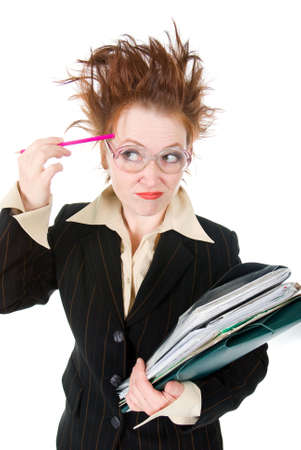 stressed crazy Businesswoman with huge stack of paperwork.isolated on white Stock Photo - 6787990