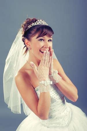 emotional young bride dressed in elegance white wedding dress .retro style photo Stock Photo - 6787988