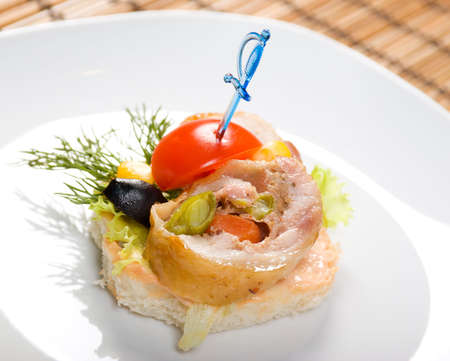 meat loaf: Canape with meat loaf. Shallow depth-of-field. close up Stock Photo