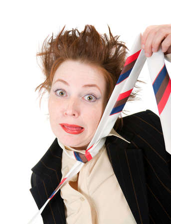 Depressed businesswoman strangle suicide self tie.isolated on a white background  photo