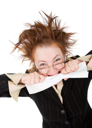 crazy woman: crazy businesswoman breaks contract .isolated on white
