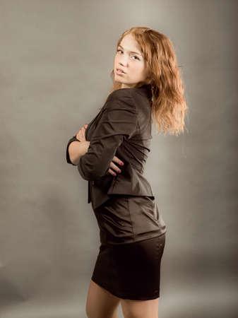 fashion portrait of a red hair sexy woman, studio shot  photo