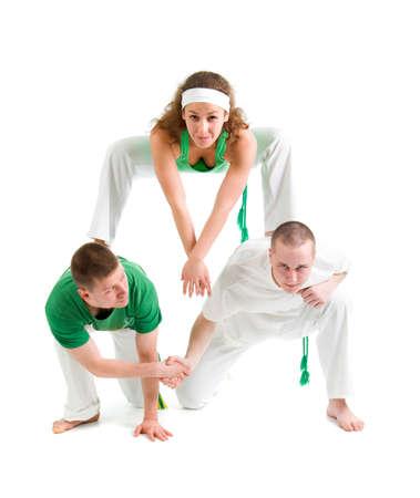capoeira dancer  over white background  photo