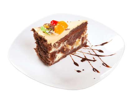 chocolate cake.sweet dessert isolated on white background photo