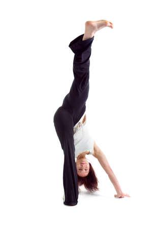 girl  capoeira dancer posing  over white background Stock Photo - 6992168