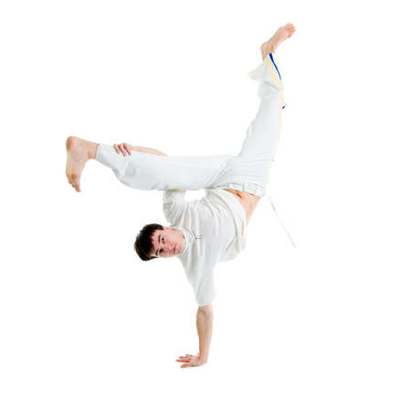 agility people: Contact Sport .Capoeira.over white background