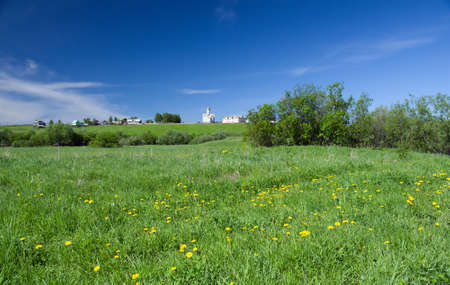 Beautiful Green Meadow.russian landscape with church Stock Photo - 7155063
