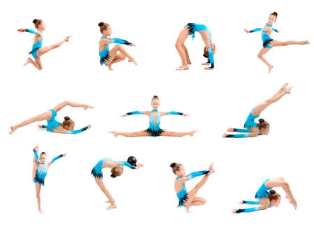 young girl doing gymnastics over white background  写真素材