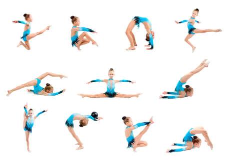 gymnastique:  jeune fille faisant gymnastique sur fond blanc