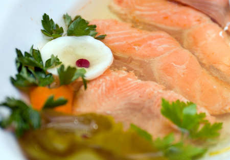 Aspic from salmon Shallow depth-of-field photo