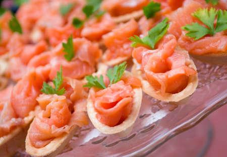 salmon ahumado: Tartaleta con el salmón. Profundidad superficial de campo
