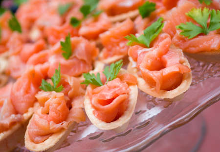 smoked salmon:  Tartlet  with salmon  . Shallow depth-of-field
