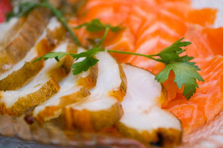 Seafood arrangement.salmon,halibut photo