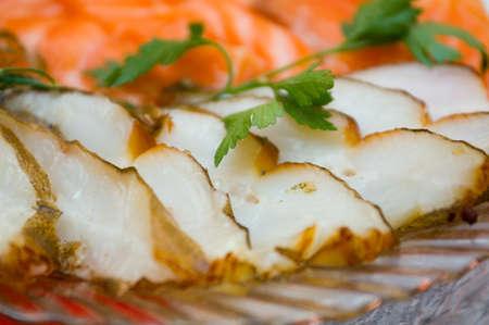 halibut: Seafood arrangement.salmon,halibut