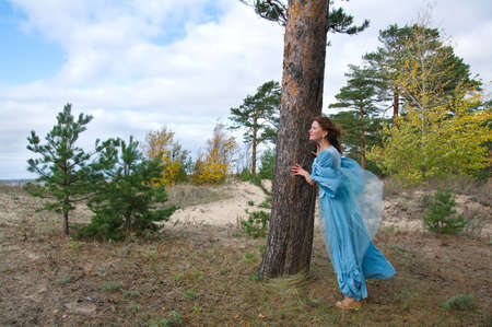 Very beautiful girl in medieval dress. strong wind Stock Photo - 7955554